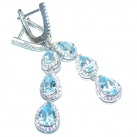 Sublime genuine Swiss Blue Topaz Sterling Silver earrings