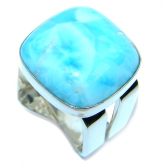 Unique Modern Style Blue Larimar Sterling Silver Cocktail Ring size 5 3/4