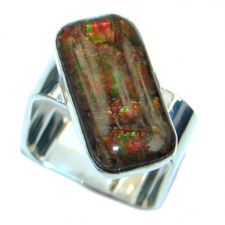 Rainbow Fire AAA Ammolite Sterling Silver ring s. 8 3/4