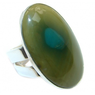Modern Design Large authentic Imperial Jasper Sterling Silver ring size 8