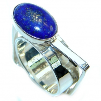 Ultra modern Royal Blue Lapis Lazuli Sterling Silver Ring s. 8
