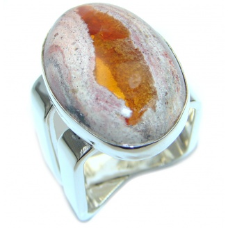 Mexican Fire Opal Oxidized Sterling Silver handmade Ring size 7