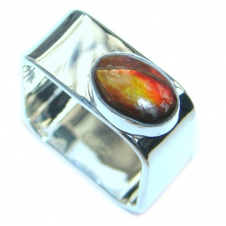 Unisex Rainbow Fire AAA Ammolite Sterling Silver ring s. 10 1/2