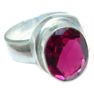 Pink Aura Silver Tone ring size 9 3/4