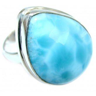 Unique Modern Style Blue Larimar Sterling Silver Cocktail Ring size adjustable