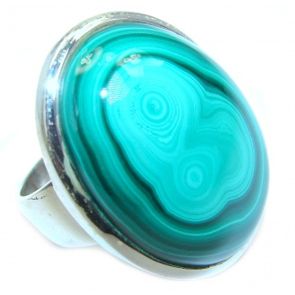 Natural great quality Malachite Sterling Silver handcrafted ring size 7