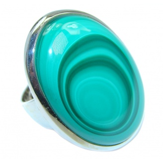 Natural AAA quality Malachite Sterling Silver handcrafted ring size 8