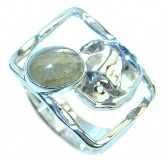 Blue Aura Fire Labradorite hammered Sterling Silver ring size 8 1/4