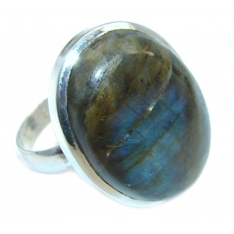 Big Blue Aura Fire Labradorite Sterling Silver ring size 12