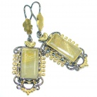 Perfect Golden Rutilated Quartz Gold plated over Sterling Silver handmade earrings