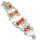 Huge Amazing Mother Of Pearl Silver Tone Bracelet