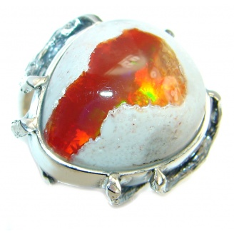 Mexican Fire Opal Oxidized Oxidized Sterling Silver handmade Ring size 9