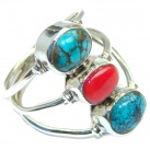 Exotic Turquoise Coral Sterling Silver Ring s. 10 1/2