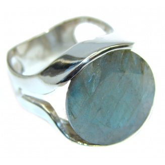 Blue Aura Fire Labradorite Sterling Silver ring size 7 3/4