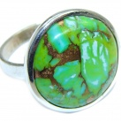 Simple Design copper Turquoise Sterling Silver handmade ring size 10