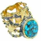 Simple Copper Blue Turquoise Gold plated over Sterling Silver handmade Ring s. 6