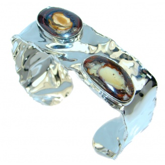 One of the kind AAA quality Koroit Opal hammered Sterling Silver Bracelet / Cuff