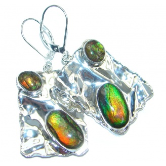 Orange Aura AAA+ quality Fire Ammolite hammered Sterling Silver earrings
