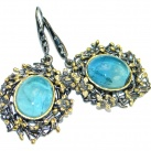 Large Vintage Design Apatite Gold plated over Sterling Silver earrings