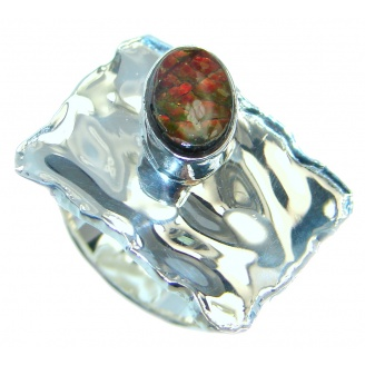 Unisex Rainbow Fire Ammolite Sterling Silver ring s. 6 1/4