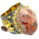Large Mexican Fire Opal Gold plated over Sterling Silver handmade Ring size 7