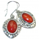 Orange Carnelian Oxidized Sterling Silver handmade earrings