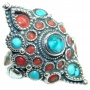 Boho chic Gorgeous Fossilized Coral Turquoise Silver Tone ring s. 6 1/2