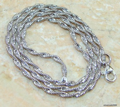 "Sterling Silver Rodium Coreana Chain; 16"" long ; 2 mm wide"
