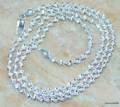 "Swanky Sterling Silver Twister Chain; 20"" long ; 4 mm wide"