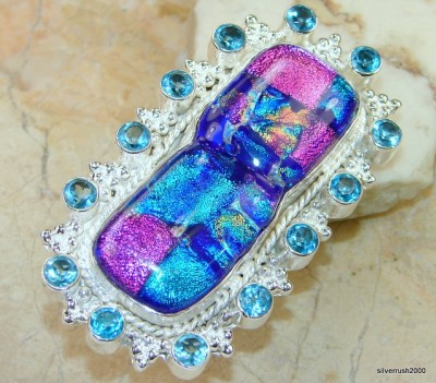The Biggest Magic Dichroic Glass Sterling Silver ring Ever! s. 10 3/4