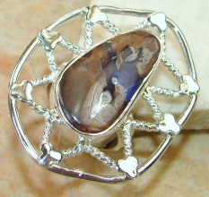 Beautiful Boulder Opal Sterling Silver Ring s. 7 3/4