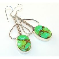Copper Green Turquoise Silver Sterling earrings