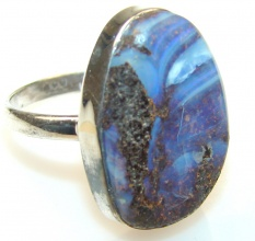 Movment Boulder Opal Sterling Silver Ring s. 7