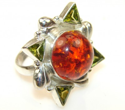 Magic Polish Amber Sterling Silver Ring s. 8