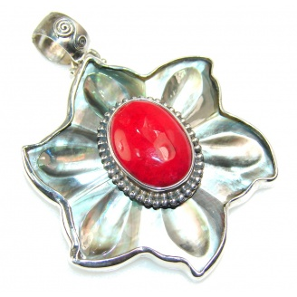 My Sweet!! Red Coral Sterling Silver pendant