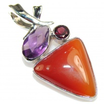 Classy Brown Agate Sterling Silver Pendant