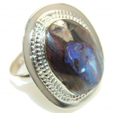 Classy Boulder Opal Sterling Silver Ring s. 9 1/2