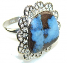 Simple Boulder Opal Sterling Silver Ring s. 7 1/4