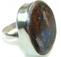 New Trendy Of Boulder Opal Sterling Silver Ring s. 8