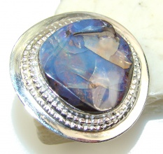 Classy Boulder Opal Sterling Silver Ring s. 8