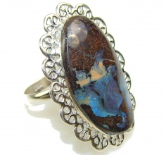Great Impression!! Boulder Opal Sterling Silver Ring s. 9