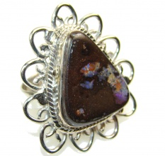 Stylish Boulder Opal Sterling Silver Ring s. 8