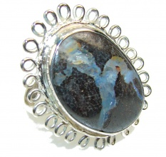 New Trendy!! Boulder Opal Sterling Silver Ring s. 7 1/4