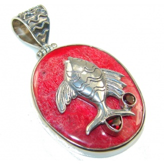 Stylish Fossilized Coral Fish Sterling Silver pendant