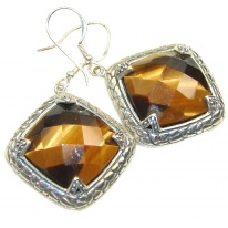 Amazing!! Brown Tigers Eye Sterling Silver Earrings
