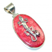 Amazing!! Red Fossilized Coral Sterling Silver pendant