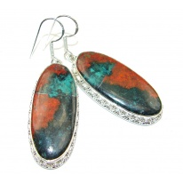 Big! Excellent Red Sonora Jasper Sterling Silver Earrings