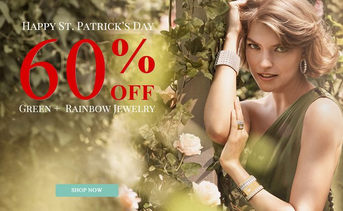 Happy St. Patrick's Day - All Green & Rainbow Color Jewelry 60% OFF