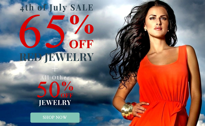 4th of July SALE - All Red Color Jewelry 65% OFF & more...