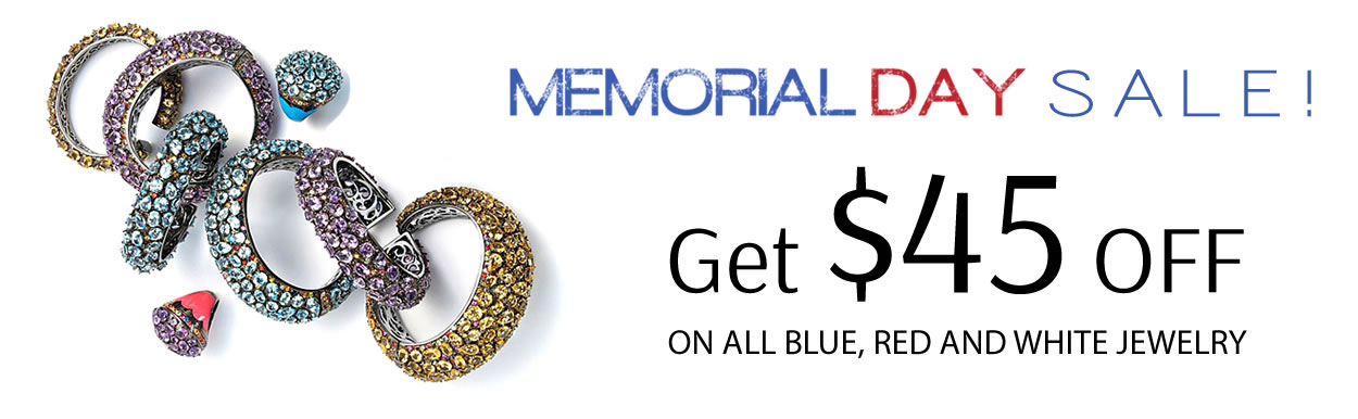 Memorial Day SALE - Blue + Red + White Jewelry 45% OFF